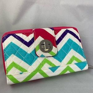 New quilted double section wallet twist lock
